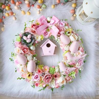 Pink floral  Easter wreath for interior decor