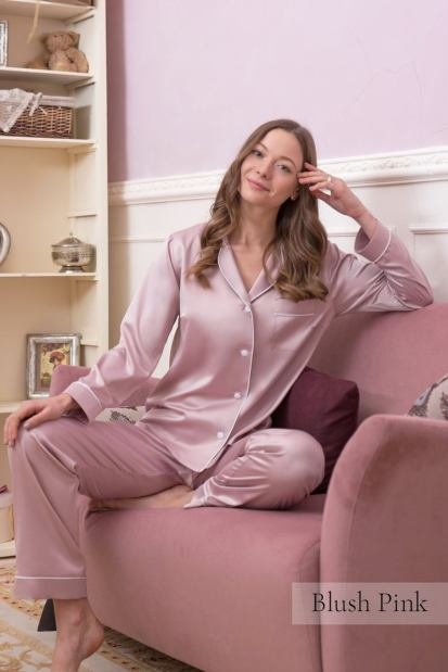 Pink Silk Pajama Set - Plus Size Satin Nightwear