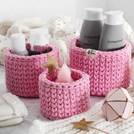 Pink crocket basket for makeup and bathroom organizer