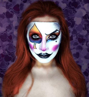 Poker cards face painting Halloween inspiration makeup