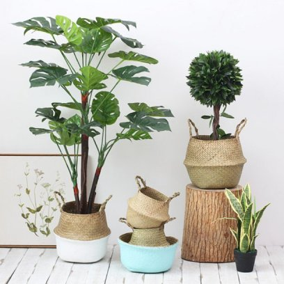 Rattan Plant pot foldable storage basket
