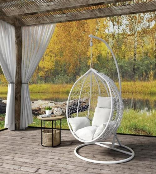 Rattan swing chair with stand for garden decor