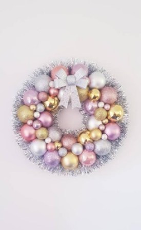 Christmas Rose Gold Bauble Wreath