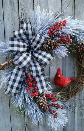 Farmhouse Christmas wreath. Rustic Christmas wreath