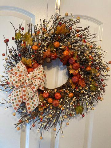 Rustic front door autumn wreath