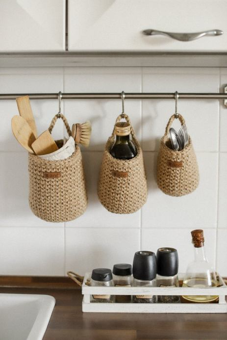 Set of 3 Crochet jute baskets for kitchen storage