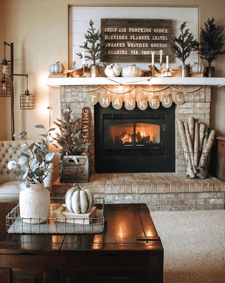 Simple Christmas mantel for fireplace.