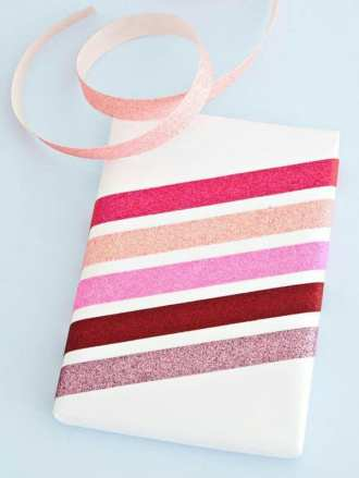 Simple gift wrapping with colourful ribbon paper