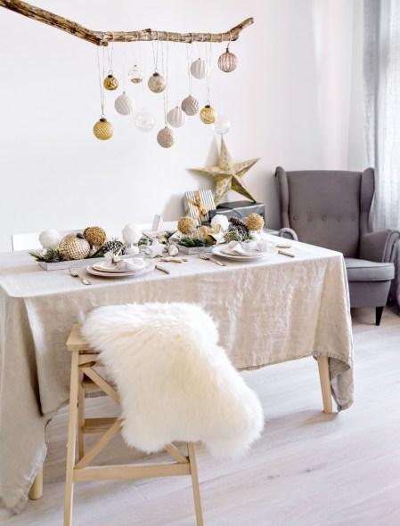Simple scandi christmas dinner table decor