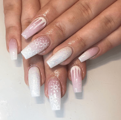 Snowflakes design  nails for winter season
