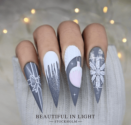 Stiletto Winter Nails Acrylic design