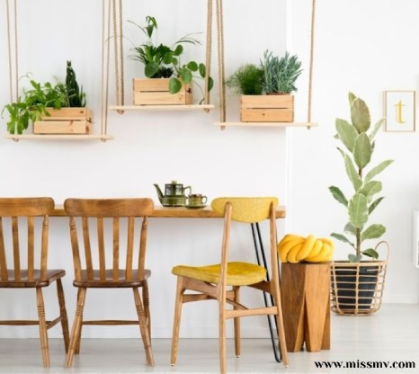 Suspended wooden crate plants for dining room