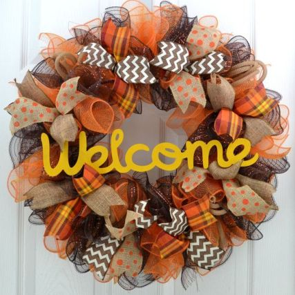 Welcome Fall Wreath - Mesh Thanksgiving Wreath - Thanksgiving Door Wreath - Fall Front Door Wreath - Welcome Fall Wreath