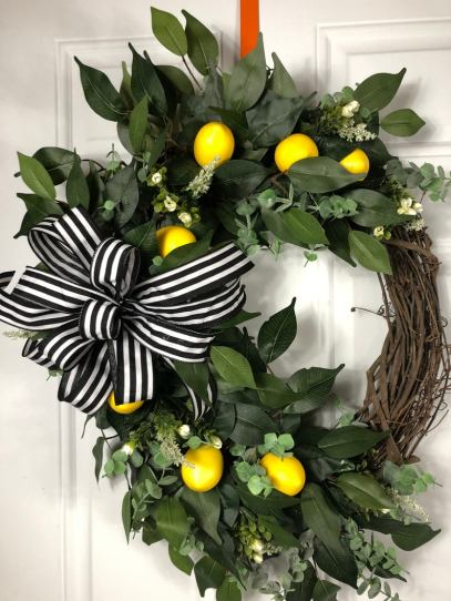 Welcome lemon wreath for front door decor