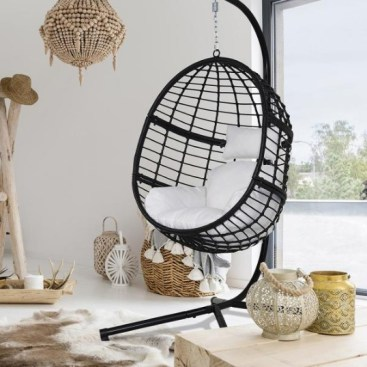 Wicker Outdoor Basket Swing Chair with Black and White Cushion and Stand