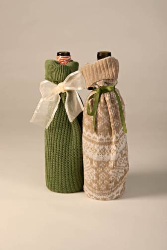 Wine bottle wrapping with old  sweater