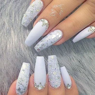 Winter Frosted long nails