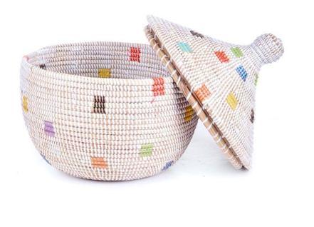 Woven Rainbow Prism Natural Lidded Storage Basket