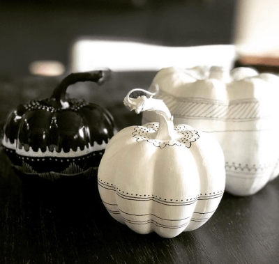 black and white painted pumpkin decor ideas