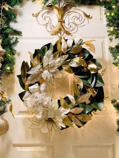 Gold leaf Christmas wreath