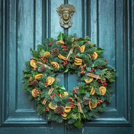 Rustic Christmas wreath for front door
