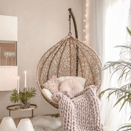 Dream decor. Glam bedroom decor for adults. Swinging chair for adults
