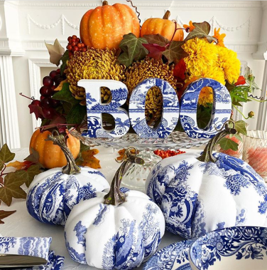 rustic decor with painted pumpkins