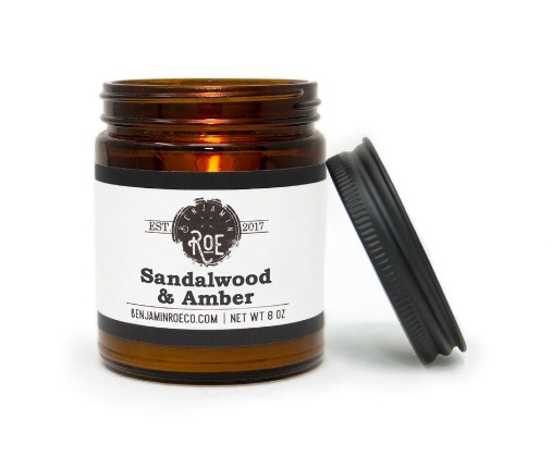 sandalwood and amber aromatherapy candle