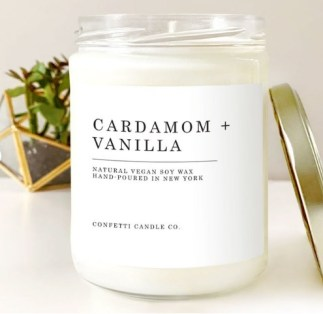 Vanilla and cardamom scented candle for anxiety and stress