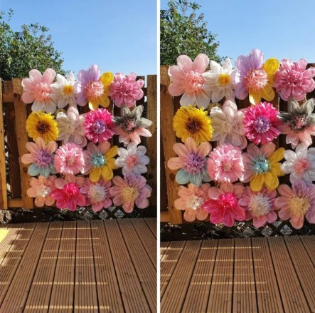 Paper flowers wall backdrop wedding party