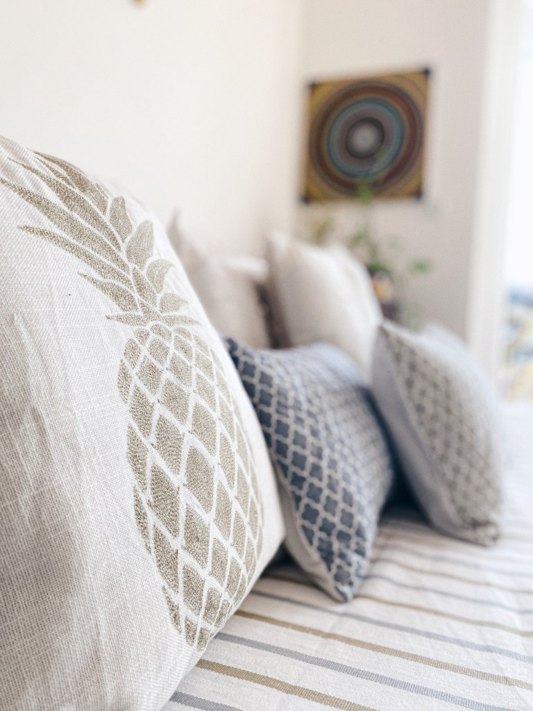 White Pineapple Linen Cushions