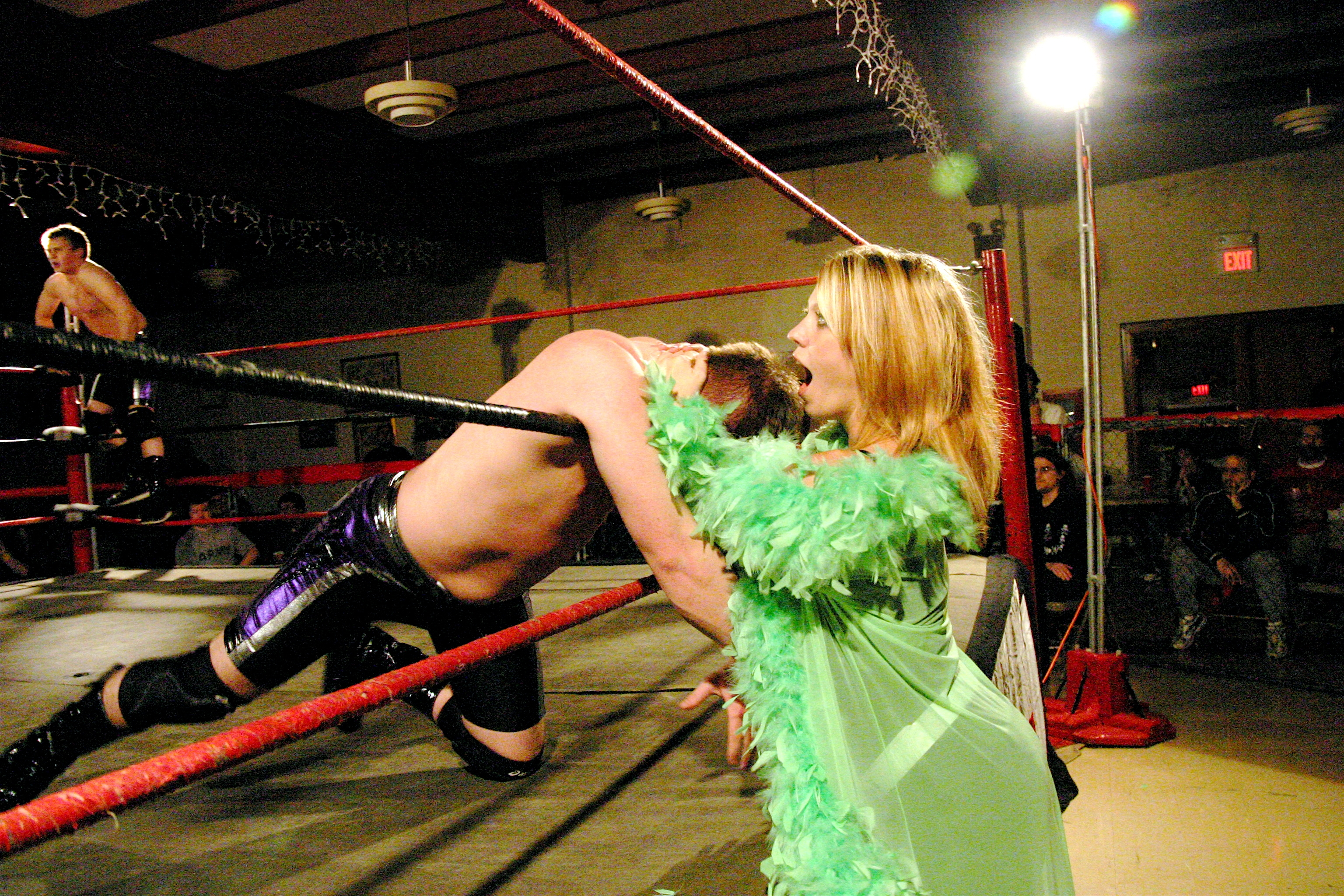 """All eyes in the building was on""""pNut"""" Nikki Mayday but the refs, as she choked Steven Kennedy  (Photo Credit: Michael R Van Hoogstraat)"""