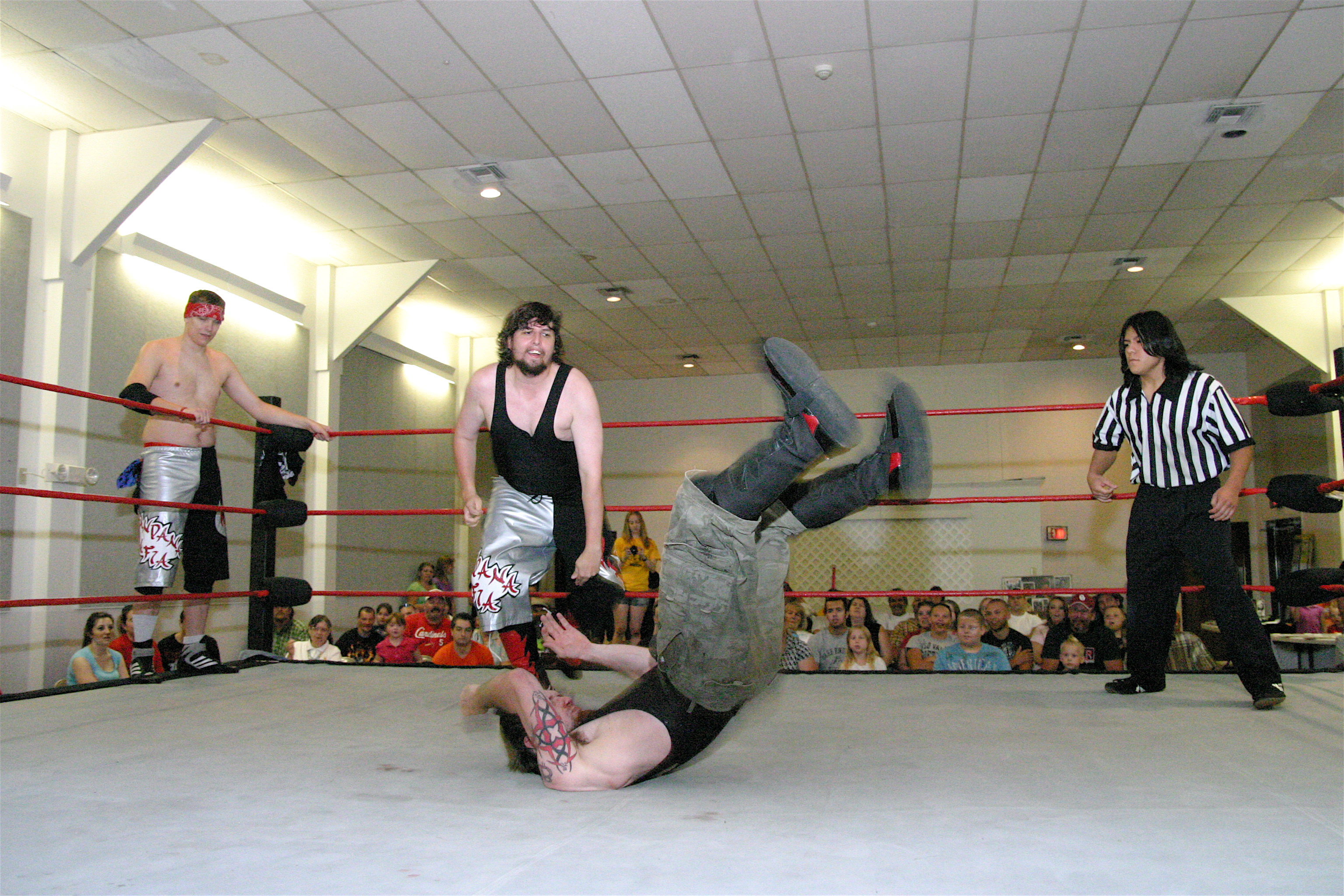 The Submission Squad improved there dominance of the Cutters on Aug 15 when they defeated the Hooligans Lil Brother Neil Diamond Cutter and his tag team partner The Blackheart in the semi final match for the HVW Tag team Titles. (Photo credit Mike Van Hoogstraat)