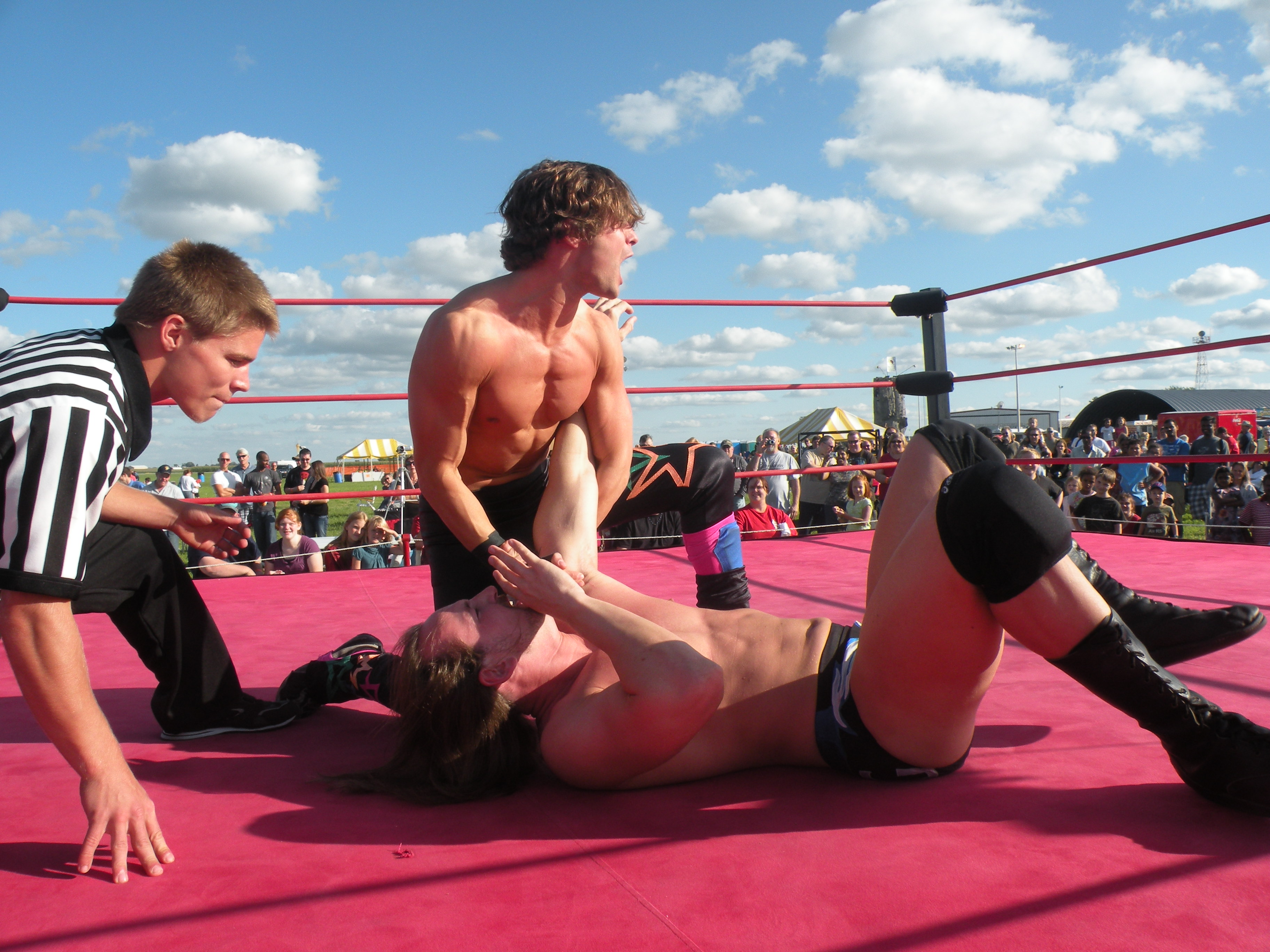 "Mike Sydal works the arm of Mark Sterling (Photo Credit Brian ""Flair"" Kelley)"