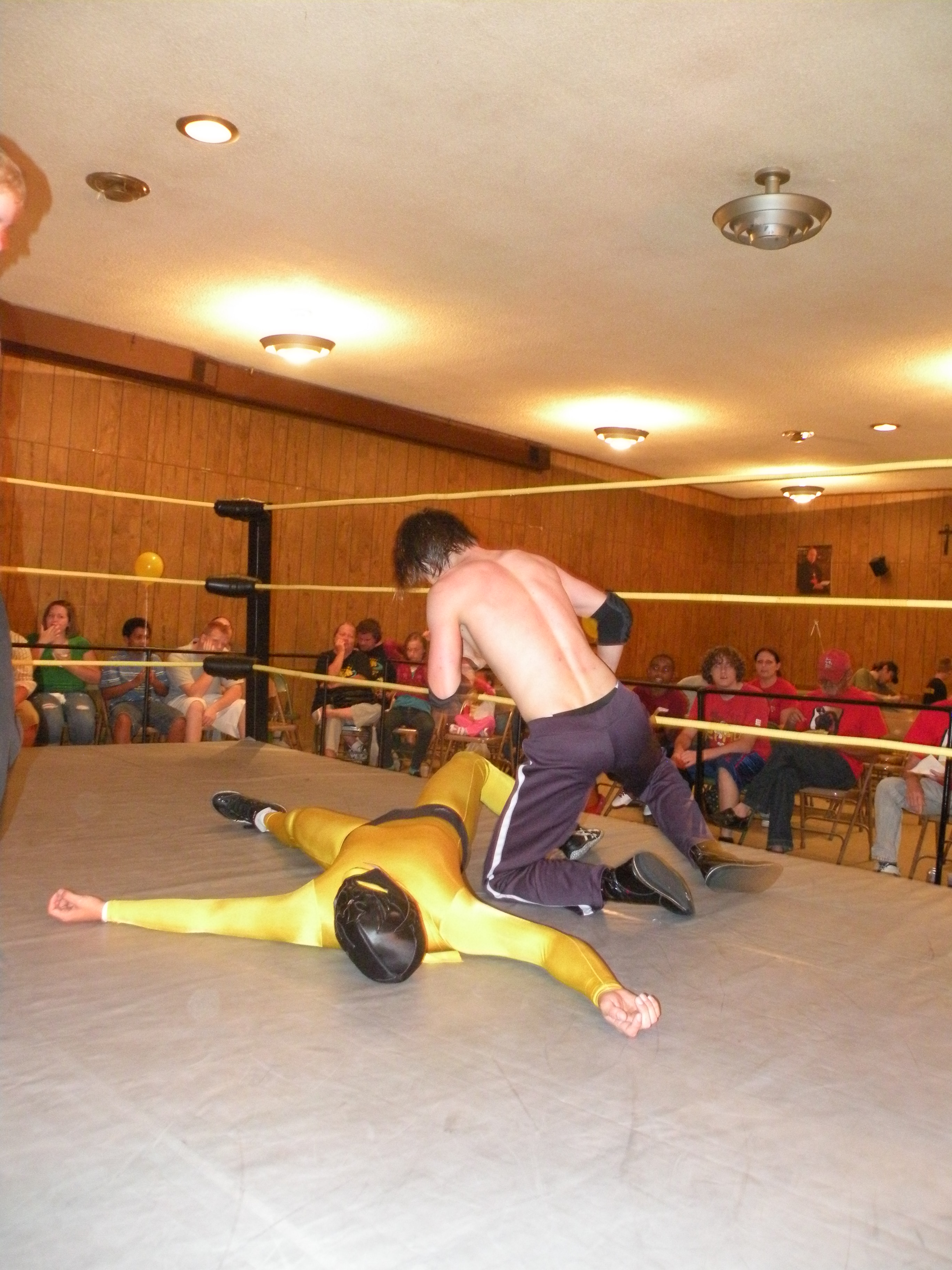 "Matt Mayday (formerly known as Krotch) goes for the pin on Nacho O'Reily (Photo Credit Brian ""Flair"" Kelley)"