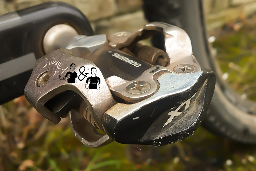 Shimano Deore XT clipless pedals theirs and ours