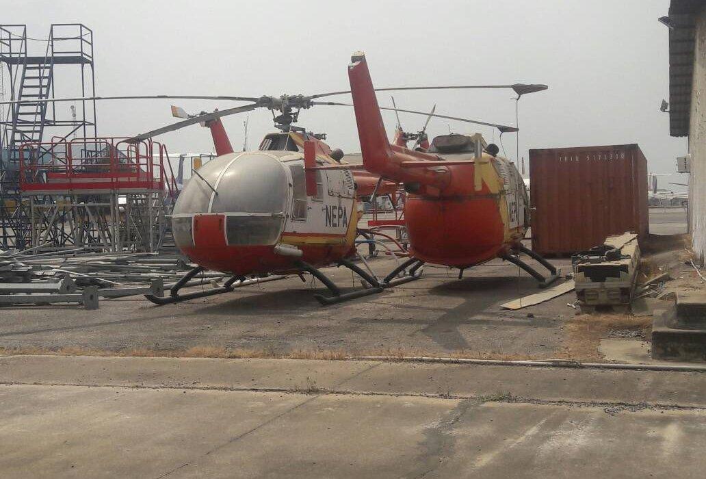 Photo :Abandoned NEPA helicopters rotting away