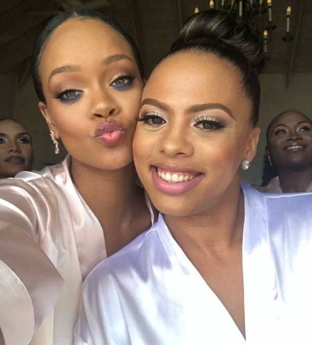 Rihanna slays in satin Kimono as she supports friend during wedding in Barbados