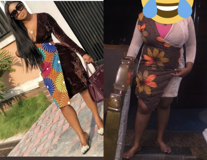 lady shows off what she ordered vs what she got