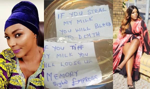 Tina Mba shares photo of 'written curse' Empress Njamah placed on her milk