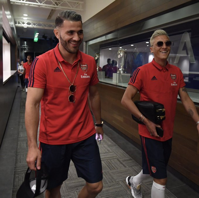 'We're fine' – Arsenal star, Sead Kolasinac shares new photo with Mesut Ozil after they were attacked by thugs