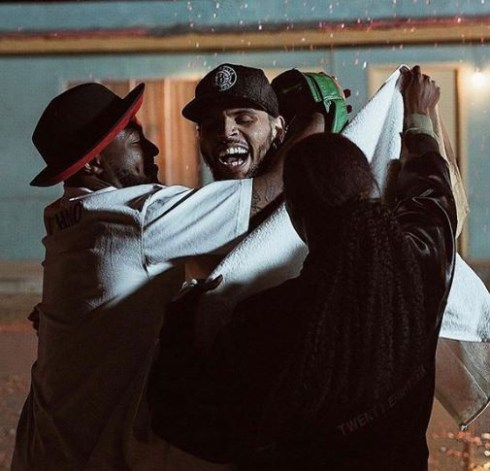 'My brother danced in the cold rain for me' – Davido shares new photos with Chris Brown