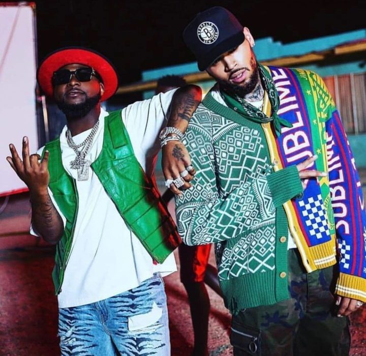 Chris Brown and Davido pictured together as they prepare to release a newmusic