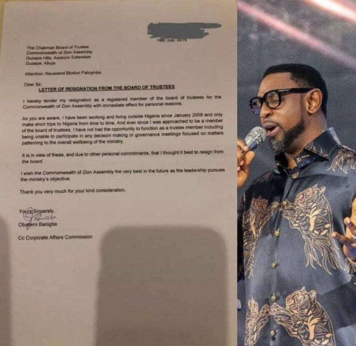 """Pastor Obafemi Banigbe resigns as a COZA board of trustees member""""with immediate effect"""""""