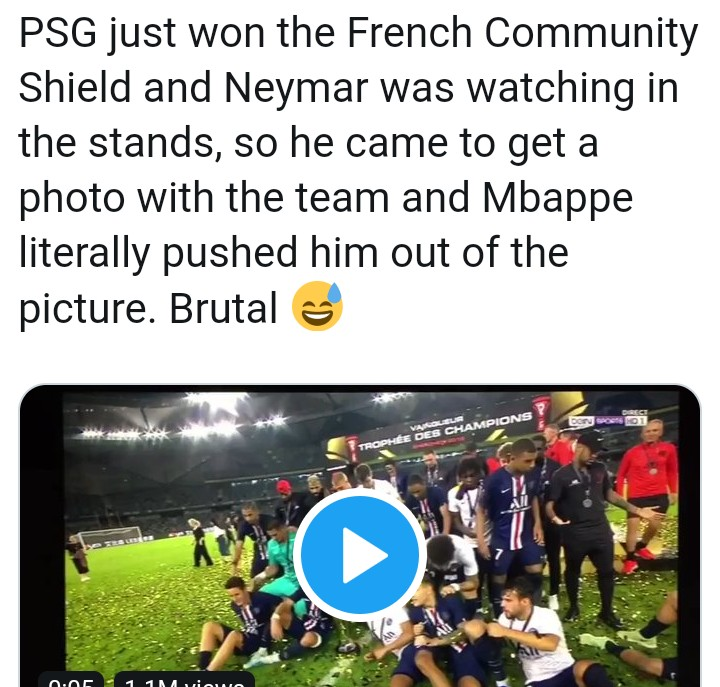 Mbappe Pushed Neymar Out Of PSG's Trophy Celebration Today (Video)