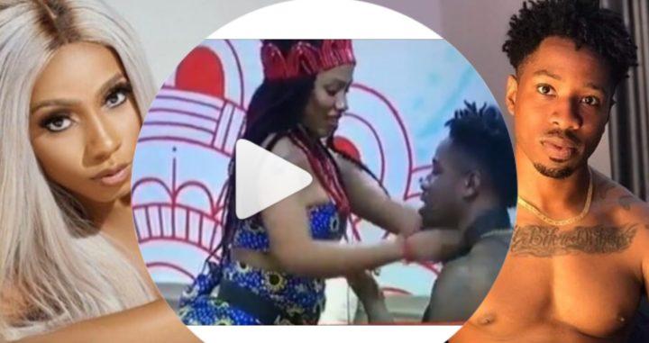 #Bbnaija: Watch the Cute Moment Ike Tried To Touch MercyâsB00bs After Wearing Her Bra