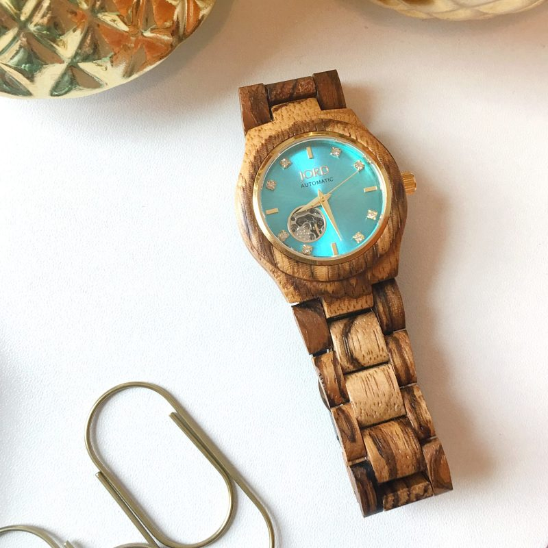 Jord Watches Cora Series: Zebrawood & Turquoise