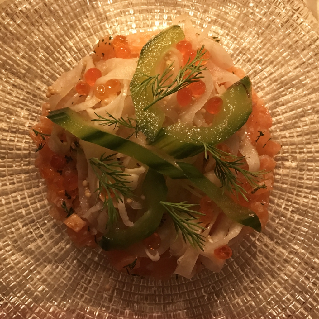 Salmon tartare at Bob Bob Ricard Soho London