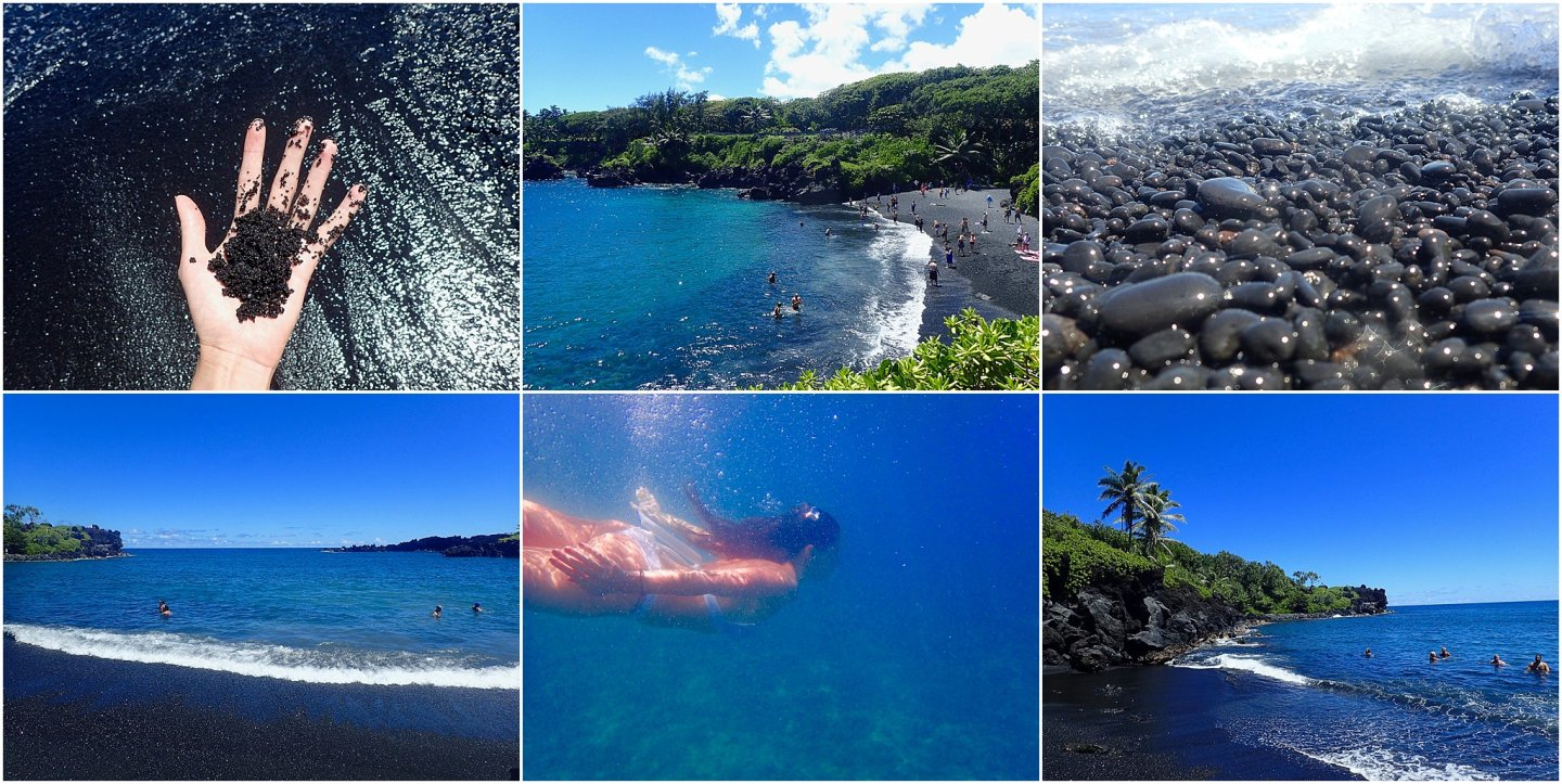 Swimming in Black Sand Beach -The road to Hana maui - Road or destination? Guest Post by Lara Olivia Miss Portmanteau? Club Elsewhere - The World's Travel Diary edited by Rosie Bell
