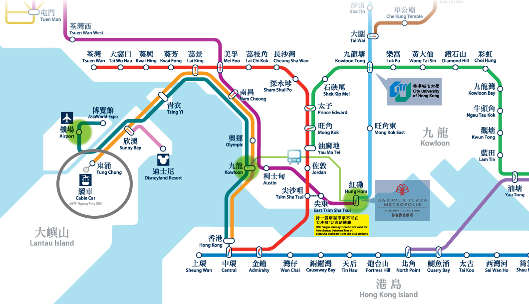 MTR to Tung Chung Map